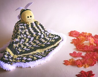 Hand-Knit Bumblebee Lovey Security Blanket Woobie