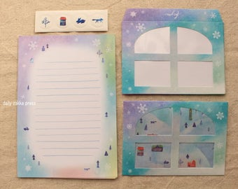 Mountain Letter Set | Winter Letter Writing Set - 8 letter papers - 4 window envelopes - 8915