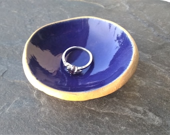 RING DISH Small Glossy Wood Fired Round Wheel Thrown Stoneware Pottery Ring Dish with Shino Glaze and Ash