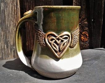 MUG: Winged Celtic Knotwork Heart Mug #16    Wheel Thrown Pottery Mug   Dark Green over White