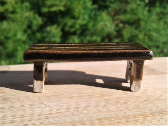 Astonishing Fairy Furniture Miniature Ceramic Fairy Garden Bench Glossy Dark Brown With Wood Grain Texture Spiritservingveterans Wood Chair Design Ideas Spiritservingveteransorg
