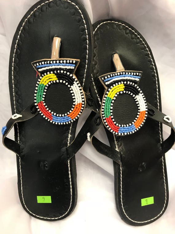 official photos lower price with cheap price Beaded Sandals/flip flop Ladies/Women US Size 9 Black Leather Circle Design  Light Blue/White/Red/Orange/Yellow/Green Beading MADE in KENYA