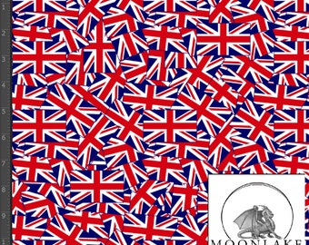 Union Jack Tossed All Over Pattern, Fabric 100% Cotton 130gsm Poplin