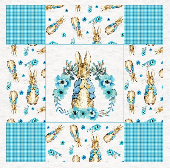 Fabric Upholstery Craft Panel all over repeating patter Peter Rabbit