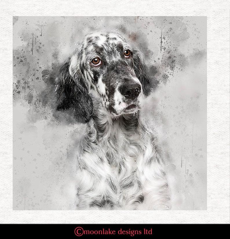 English Setter Grunge Splatter Art Fabric Upholstery  image 0