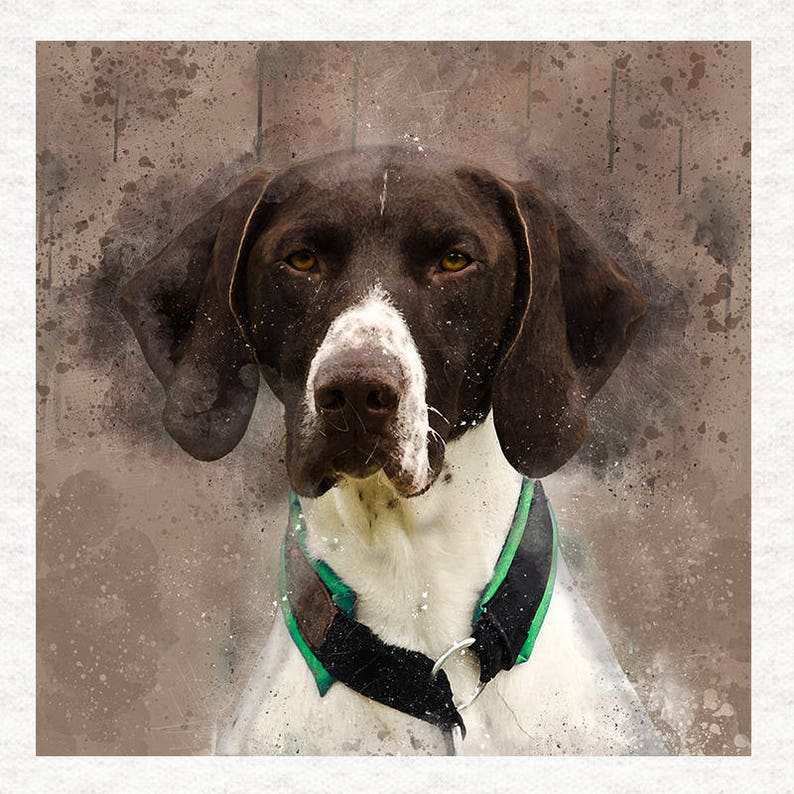 German Short Haired Pointer Quilting Printed Fabric Panels Sewing Watercolour splatter Craft