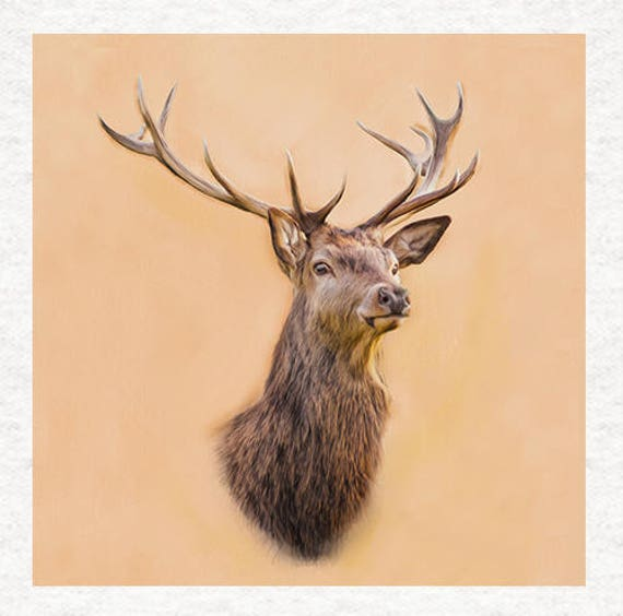Red Deer Stag Printed On Fabric Panel Make A Cushion Upholstery Craft