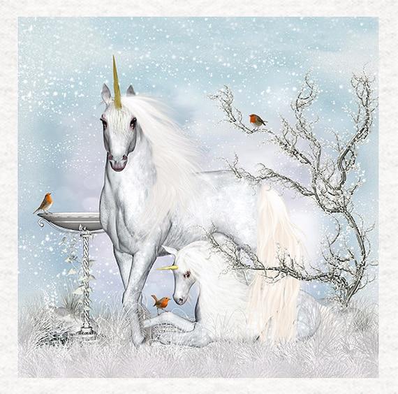 Unicorn Fabric Upholstery Craft Panel Watercolour print Unicorn and Squirrels