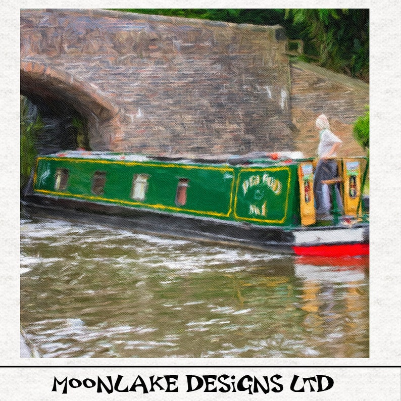 Canal Barge, Longboat green, Watercolour painting PRINT - Fabric Upholstery  Craft Quilting Panel