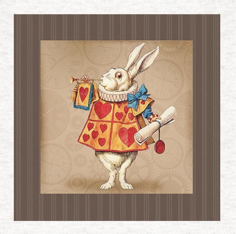 Alice In Wonderland Trumpet White Rabbit Grunge Background Etsy