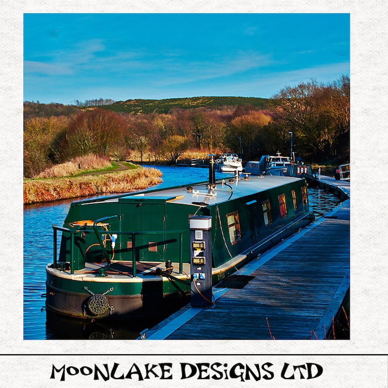 Forth Clyde Canal Barge Longboat Fabric Upholstery Craft Quilting Panel Watercolour painting PRINT
