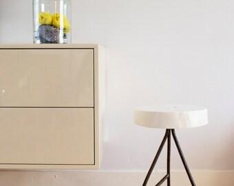 Wood stool / Industrial stool / Metal bar stool / Rustic stool / Reclaimed wood / Hand-turned / Welded metal