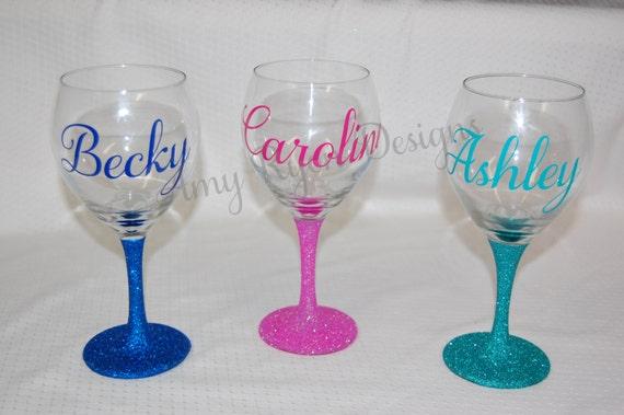 TWO Custom Name Glittered Wine Glasses Wedding Party Wine | Etsy