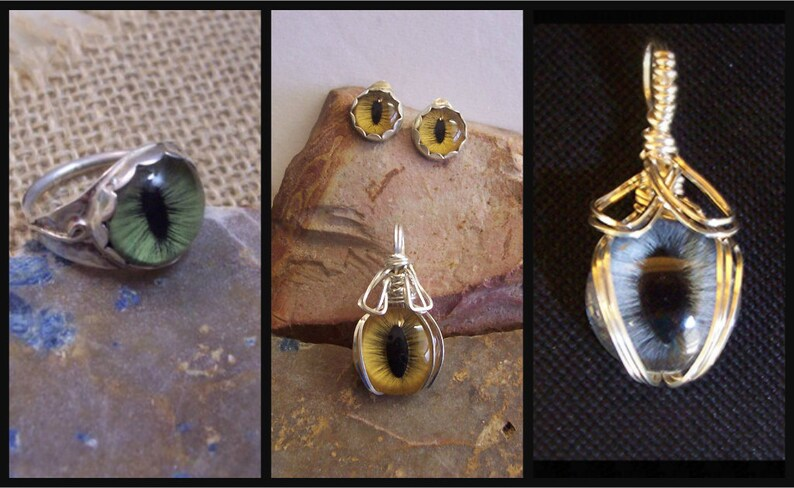 Made to Order Solid Sterling Silver Earring and Pendant Set Custom Hand Painted Glass Eye