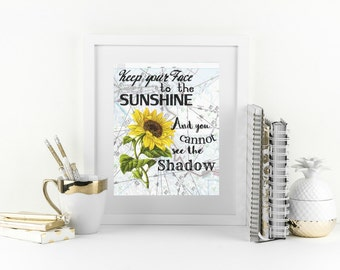 New Years Resolution Quote, Sunflower Wall Decor, Motivational Print, Cute Office Decor, Sunflower Wall Art, Encouragement Gift, Yellow