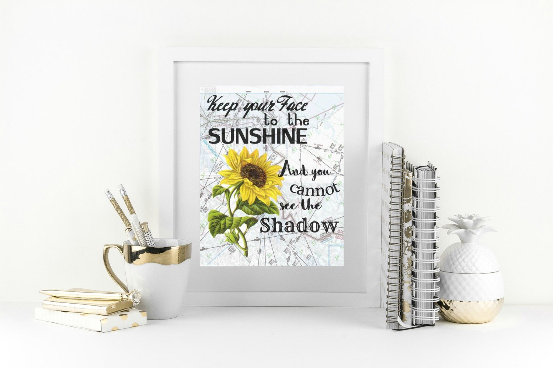 New Years Resolution Quote Sunflower Wall Decor Motivational Print Cute Office Decor Sunflower Wall Art Encouragement Gift Yellow