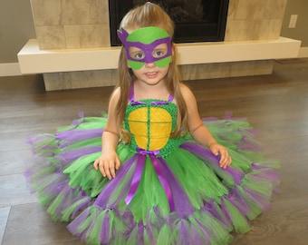 Teenage Mutant Ninga Turtle tutu dress, Donatello tutu dress, TMNT tutu dress, superhero tutu dress
