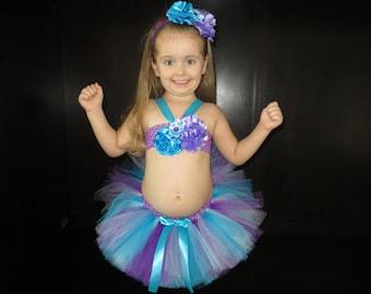 Purple, turquoise, blue, lavender tutu outfit, tutu bikini