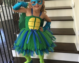 Leonardo tutu dress, ninja turtle tutu dress, TMNT tutu dress
