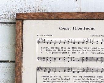 Come Thou Fount Rustic Wooden Sign - Christian Wall Decor, Christian Gift, Wood Sign, Rustic Sign, Rustic Home Decor, Farmhouse Decor