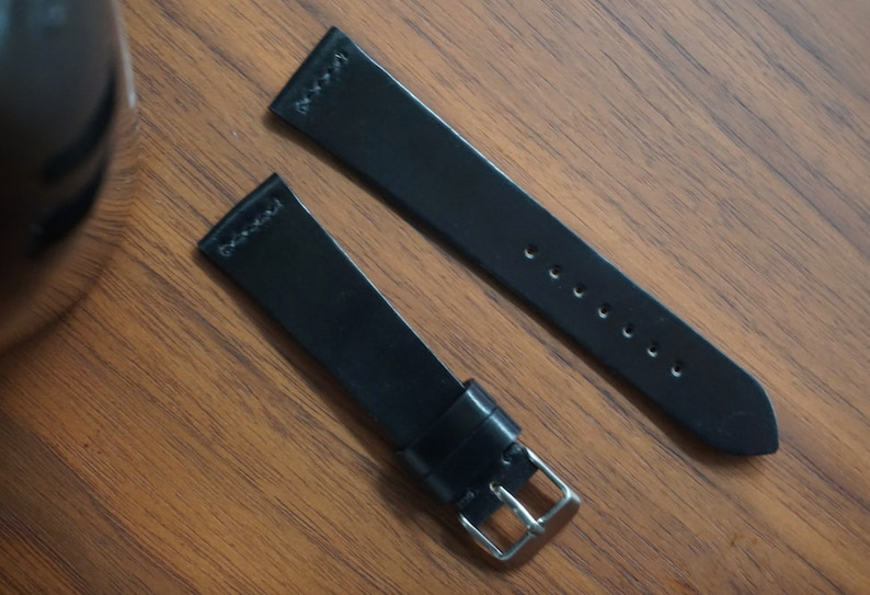 e440bc8f0 Black shell cordovan watch strap with straight top stitching   Etsy