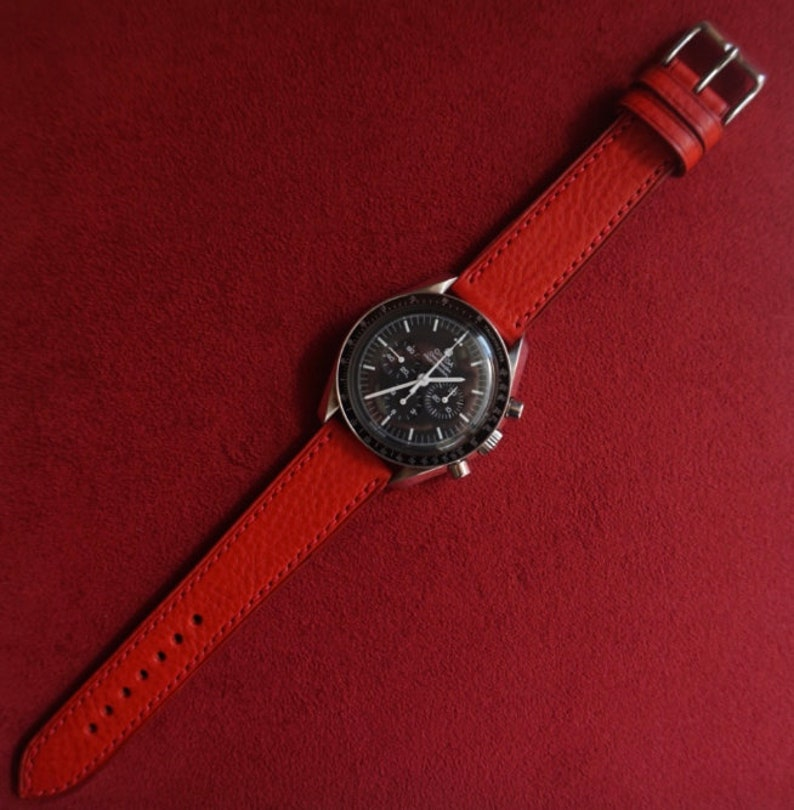 d3b1c62a2 Custom red minerva leather watch strap handmade in 16-23mm   Etsy