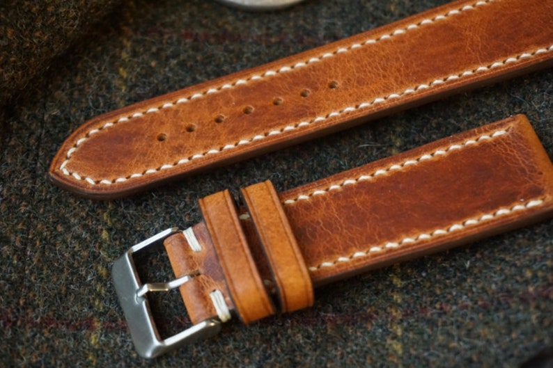 Best Leather Watch Straps >> Horween Natural Derby Leather Watch Strap 18mm 19mm 20mm 21mm 22mm 24mm Custom