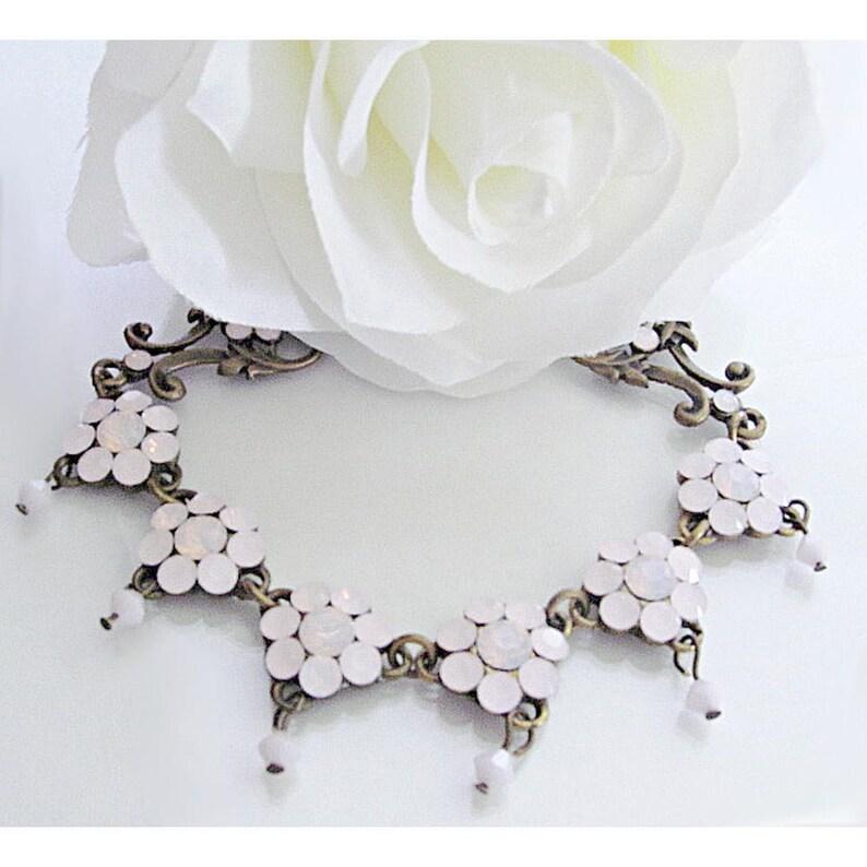 e4aefccf15104 Swarovski Pink Opal Crystal Bracelet. Antique Style Floral Jewelry. October  Birthstone Light Pink Rhinestones. Flower Design Jewelry