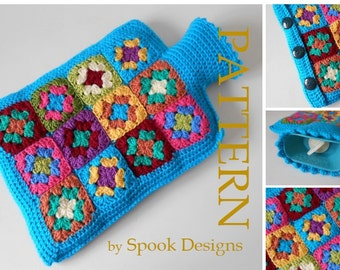 Granny Square Hot Water Bottle Cover PDF Pattern - Instant download
