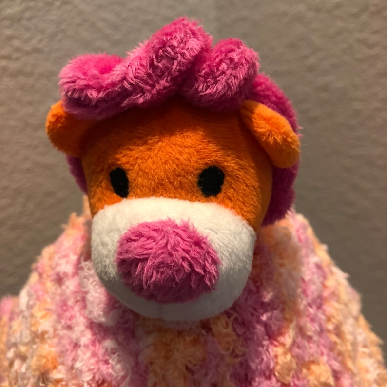 Ready to Ship with FREE SHIPPING. Lion Lovey Security Blanket Soft Hand Knit Baby Blanket Pink and Peach swirls of color