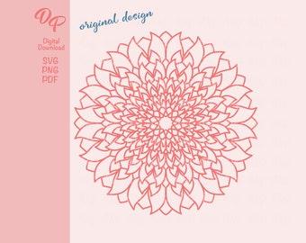 Mandala   DP347   SVG   PNG   Tulips   Digital Download   Coloring Book Page  