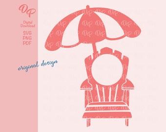 Monogram Frame SVG   DP332   Beach Chair   Umbrella   PNG   Digital Download