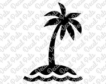 Palm Tree with Water | #DP99-0109 | beach cut design | FCM, SVG file formats | ***Not a physical item***