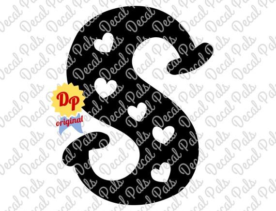 Letter S Heart Alphabet Dp99 0043 Cut Design Fcm Svg Etsy