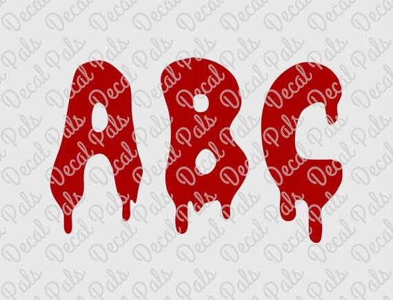 Dripping Letters Alphabet Dp134 Halloween Cut Design Etsy