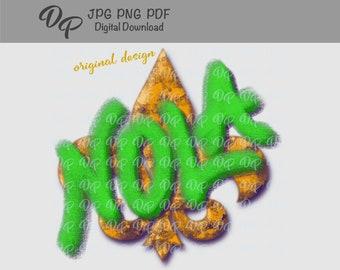DTG Sublimation   DP341   New Orleans   NOLA   Mardi Gras   Fleur de Lis   PNG   Digital Download