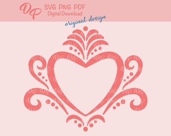 Heart SVG   DP357   PNG   Flourish   Country Home Decor   Digital Download
