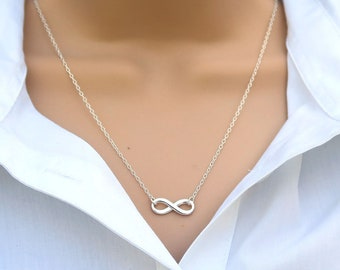 Silver Infinity Necklace For Women, Unique Handmade Jewellery Gifts, Sterling Silver Jewellery UK, Figure Eight Symbol Necklace