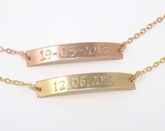 Bridesmaid Date Bracelet, Hand Stamped Wedding Date Bracelet, Gold Filled Bar Bracelet, Gold Fill Jewellery UK, Rose Gold Bar Bracelets