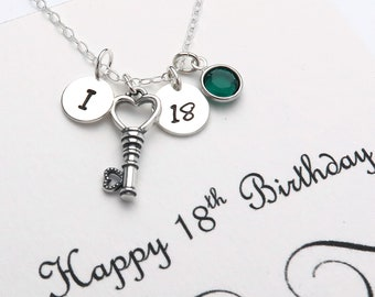 18th Birthday Necklace For Women, Personalised Birthday Jewellery Gifts, 18th Birthday Key Necklaces, Handmade 18th Gift For Girls