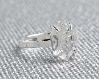 Silver Quartz Hexagon Ring - April Birthstone
