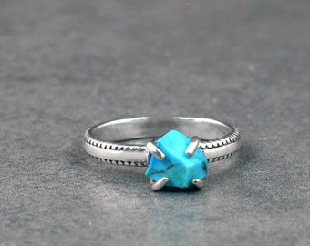 Raw turquoise silver ring  Adjustable open ring  Unusual boho hippie free people jewellery  Unique gift for her  December birthstone