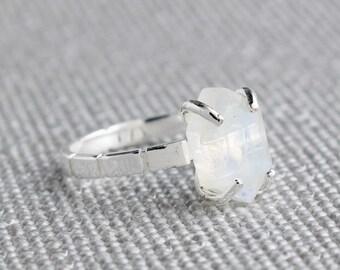 Silver Moonstone Hexagon Ring - June Birthstone