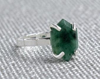 Silver Emerald Hexagon Ring - May Birthstone