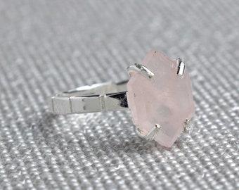Silver Rose Quartz Hexagon Ring - October Birthstone