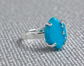 Silver Turquoise Hexagon Ring - December Birthstone