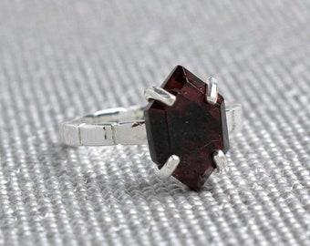 Silver Garnet Hexagon Ring - January Birthstone