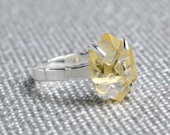 Silver Citrine Hexagon Ring - November Birthstone