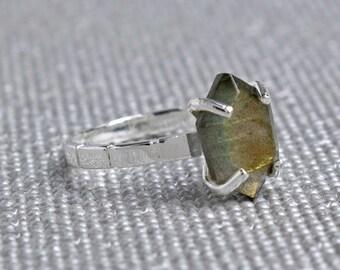 Silver Labradorite Hexagon Ring