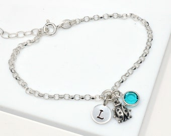 Silver Ladybug Bracelet, Personalized Initial Birthstone Bracelets, Ladybird Jewelry, Insect Charm Bracelet, Handmade Bracelets UK